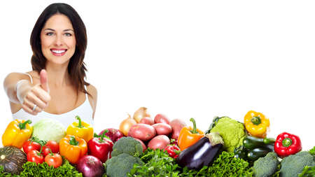 Young healthy woman with fruits Stock Photo - 16336322