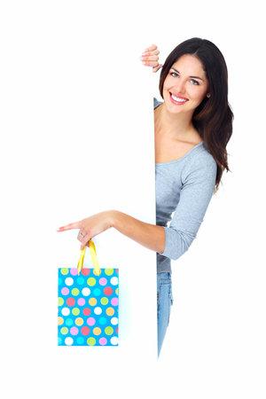 chicas comprando: Compras de Navidad hermosa mujer con el bolso Foto de archivo