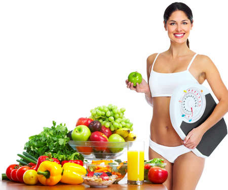 sante: Young healthy woman with fruits
