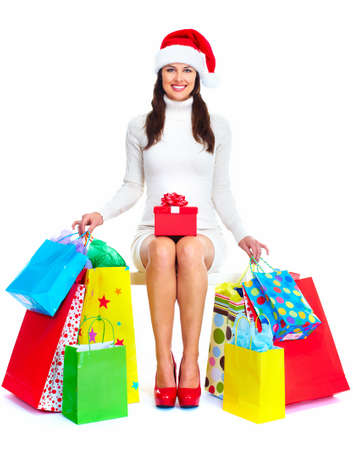 Beautiful Christmas Shopping woman  photo