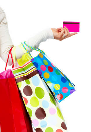 Shopping woman with bags  스톡 콘텐츠