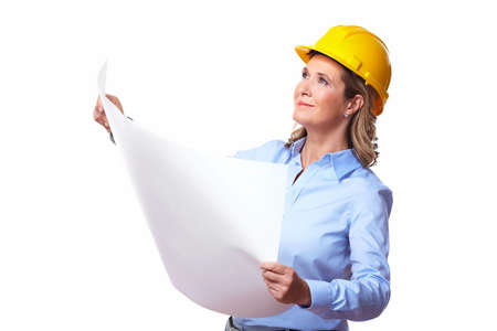 architect: Architect woman with a plan