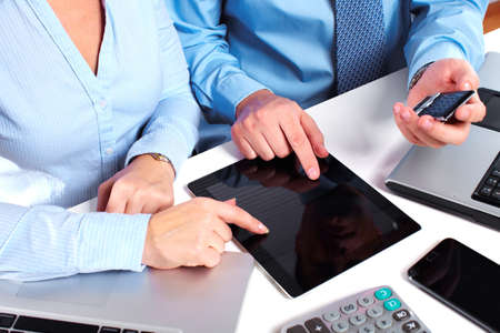 Business people group working with laptop Stock Photo - 16336256