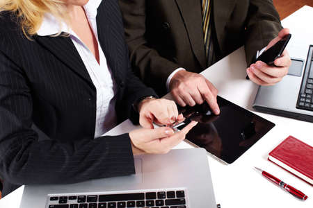 Business people group working with laptop Stock Photo - 16336310