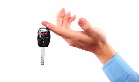 locked up: Hand with a car key