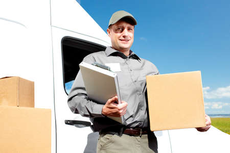 Delivery postal service man Stock Photo - 16336226