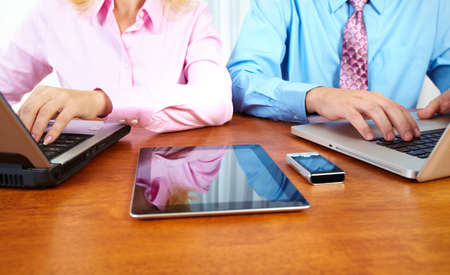Business people group working with laptop  Stock Photo - 16417378