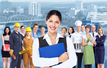 education: Business woman  and group of workers people  Stock Photo