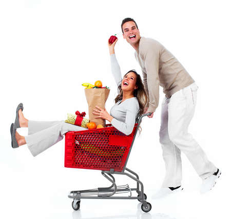 grocery shopping: Santa Christmas couple with a gift