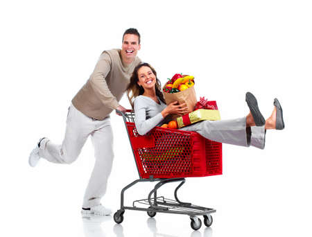 supermarket shopping: Santa Christmas couple with a gift