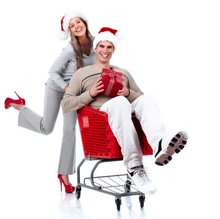 Santa Christmas couple with a gift  photo