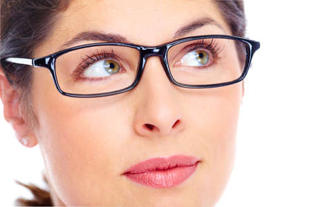 wearing spectacles: Beautiful young woman wearing glasses portrait