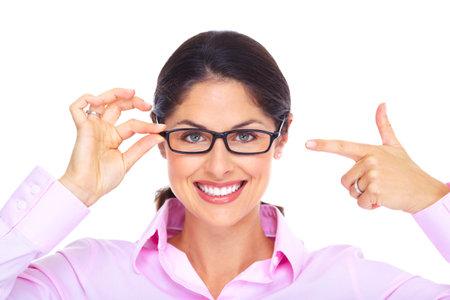 glass eye: Hermosa mujer joven con gafas retrato Foto de archivo