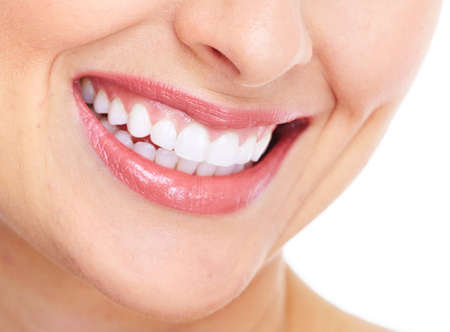 mouth close up: Happy woman smile  Dental care
