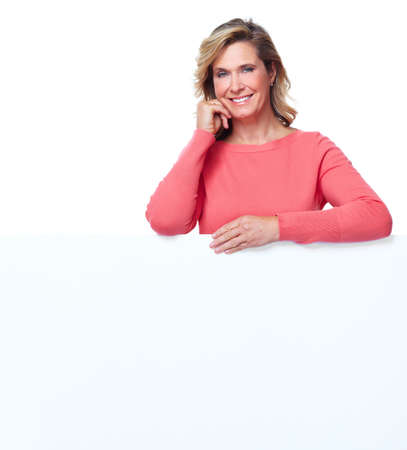 Senior woman with a banner Stock Photo - 16469793