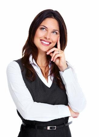 donna pensiero: Bella giovane donna di affari