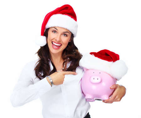 santa helper: Santa helper Christmas business woman with a piggy bank isolated on white background.