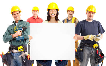 RENOVATE: Contractor woman and group of industrial workers