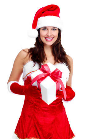 Beautiful young Christmas girl with a gift  Stock Photo - 16619484