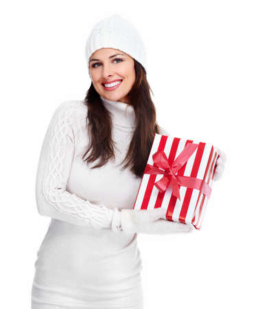 Beautiful christmas girl with a gift  Stock Photo - 16619497