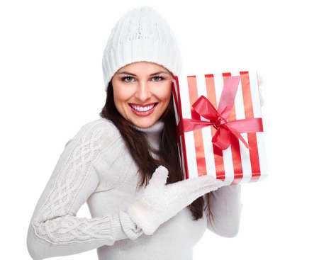 Beautiful christmas girl with a gift Stock Photo - 16619482