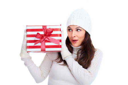 Beautiful christmas girl with a gift Stock Photo - 16619480