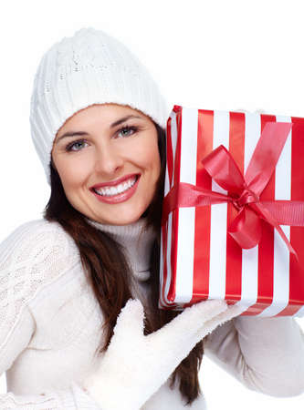 Beautiful christmas girl with a gift  Stock Photo - 16619509
