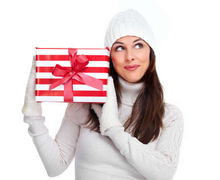 Beautiful christmas girl with a gift Stock Photo - 16619481