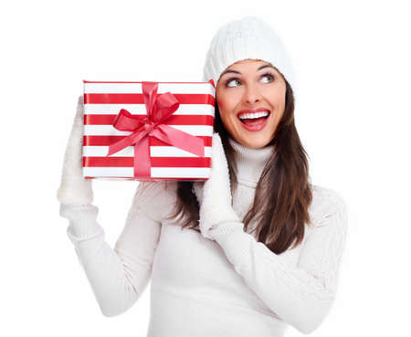 Beautiful christmas girl with a gift  Stock Photo - 16619434