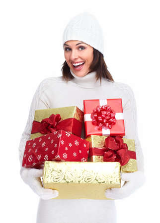 Beautiful christmas girl with a gift Stock Photo - 16619486