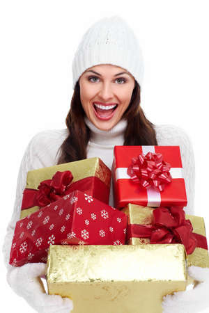 Beautiful christmas girl with a gift Stock Photo - 16619502