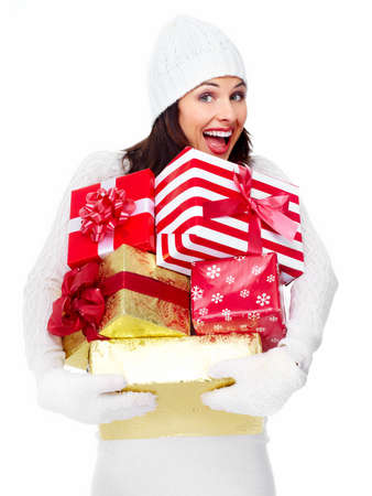 Beautiful christmas girl with a gift Stock Photo - 16619431