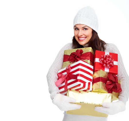 Beautiful christmas girl with a gift  Stock Photo - 16619513
