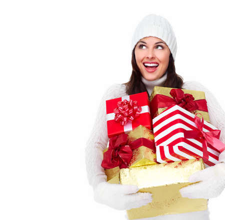 Beautiful christmas girl with a gift  Stock Photo - 16619505