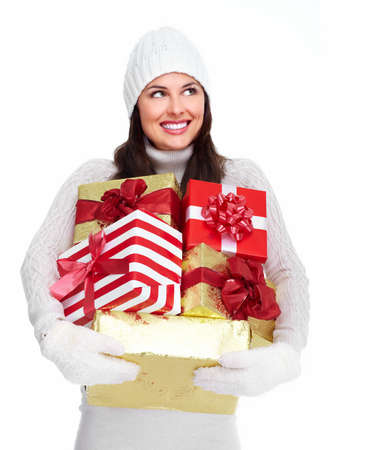 Beautiful christmas girl with a gift  Stock Photo - 16619489