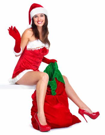 girl sit: Santa helper Christmas girl with a presents