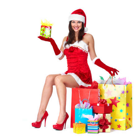 Santa helper Christmas girl with a presents