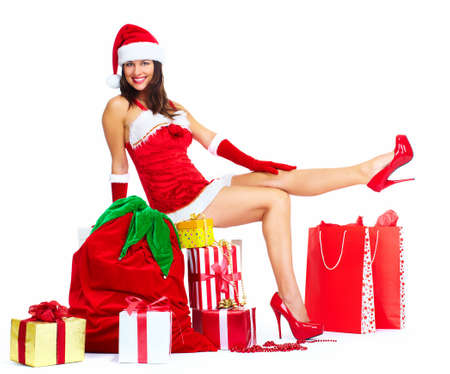 helpers: Santa helper Christmas girl with a presents