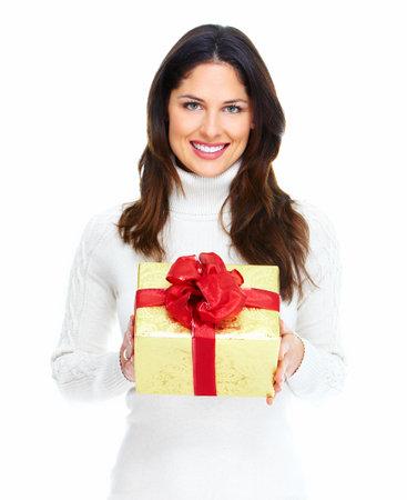 Beautiful young Christmas girl with gift Stock Photo - 16619479