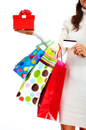 beauty shop: Shopping woman with bags  Stock Photo