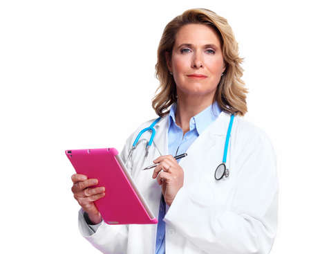 old pc: Medical doctor woman with tablet computer  Stock Photo