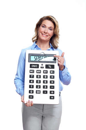 Accountant business woman with a calculator  Stock Photo - 16619435