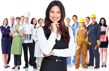 bookkeeper: Mujer de negocios y un grupo de trabajadores de la gente
