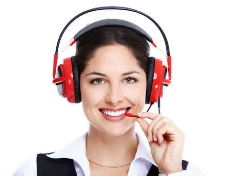 Beautiful  business woman with headset Stock Photo - 16619426
