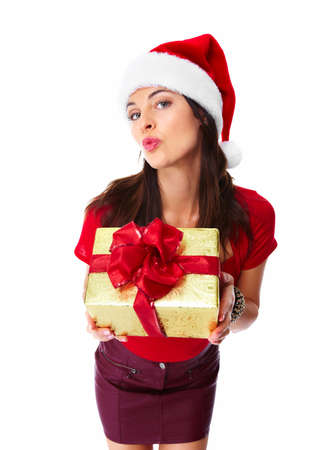 Christmas santa woman with gift  Stock Photo - 16619418