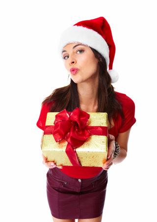 Christmas santa woman with gift Stock Photo - 16619418