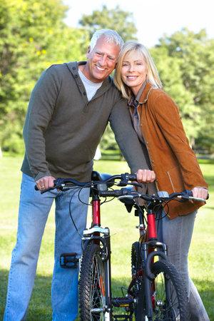 Happy senior couple cyclist Stock Photo - 16619525
