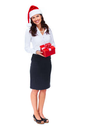 Santa helper business woman with a present  photo