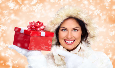 Beautiful christmas girl with gifts  Stock Photo - 16606993