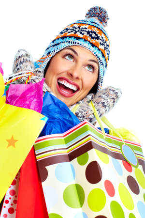 Beautiful shopping Christmas woman with bags  photo